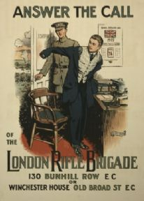 "Vintage London rifle brigade Poster ""Answer the call of the London Rifle Brigade""."